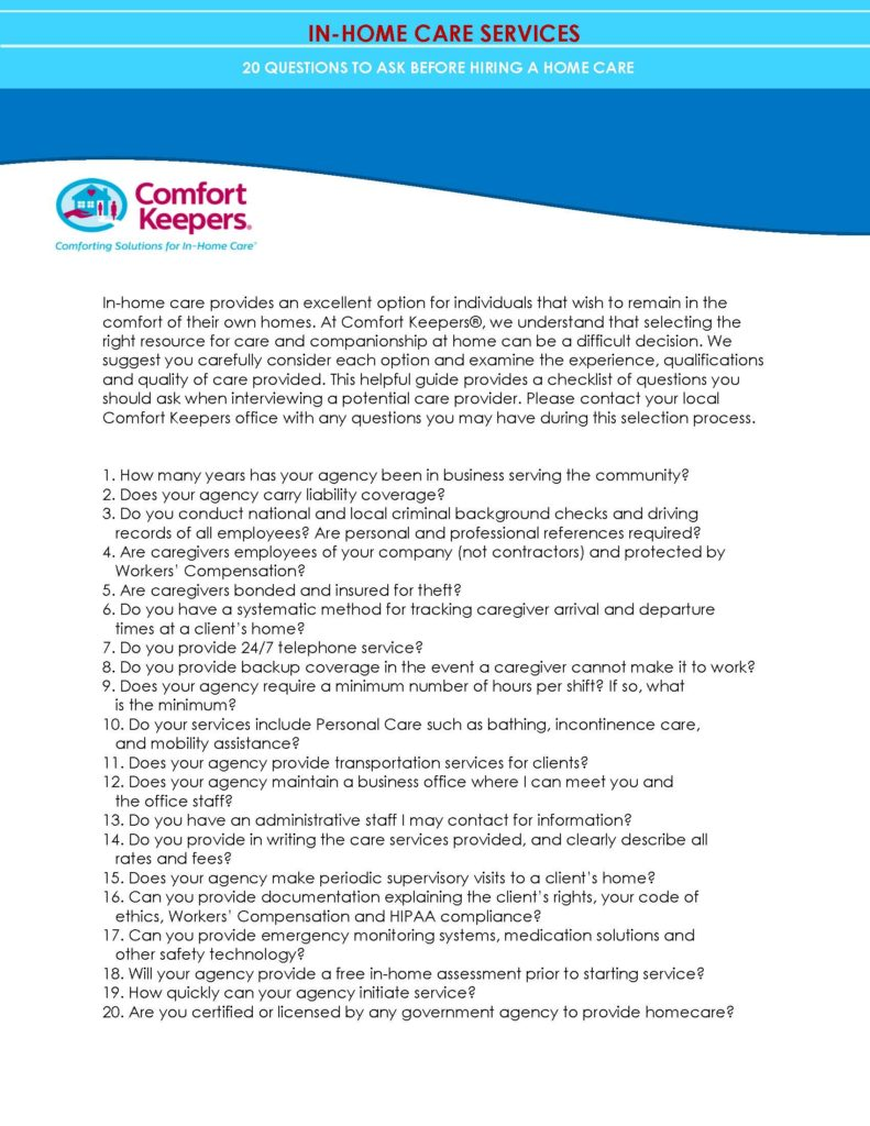 Comfort Keepers - 20 Questions for IHCs